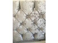 Silver crushed velvet king size bed with diamantes