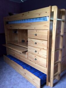 BUNK BED with COMPUTER DESK & PULL OUT TABLE