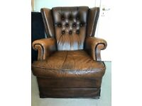 Leather armchairs, 4 matching, good condition, traditional style, offered single, pair or group of 4