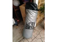 BLACK AND SILVER 3ft PUNCH BAG W/ HANGING BRACKET