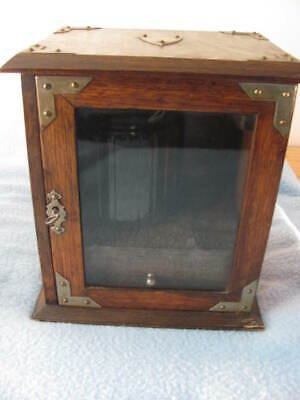 Antique Pipe / Humidor Cabinet Locking Tobacciana Vintage Glass w/ Drawer