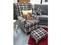 BRAND NEW tartan wing backed armchair with footstool, £349.