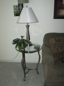 Glass Top Coffee Table & End Table For Sale