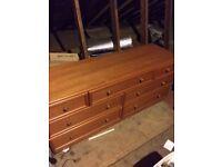 7 Drawer GPLAN Dresser plus two 2 drawer bedside cabinets