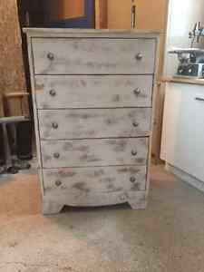 Distressed antique dresser and night table