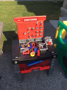 Craftsman toy tool bench with tools