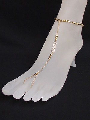 NEW WOMEN GOLD METAL FASHION ANKLET FOOT CHAINS BRACELET JEWELRY LOVE RHINESTONE