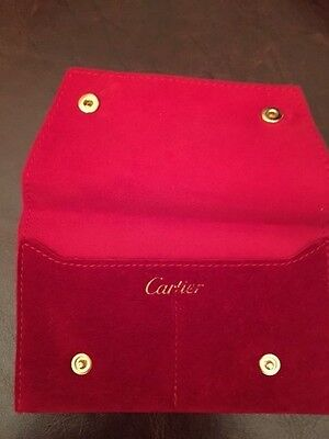 New Cartier 2 comp in 1 jewlery gift pouch red suede authentic with snap closure