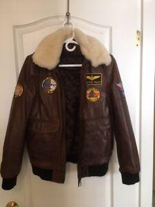 Leather Pilot Jacket - Kids L or Adult XS