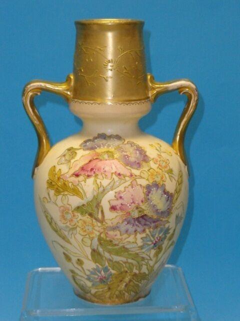 """ANTIQUE LARGE ROYAL BONN FLORAL VASE RAISED GOLD RELIEF MORIAGE c. 1875 ~ 9.25"""""""