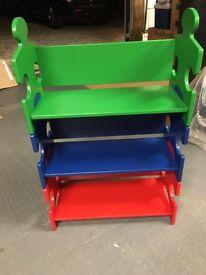 3 x identical children's shelf/ storage units - 3 tiers (red/ blue/ green)