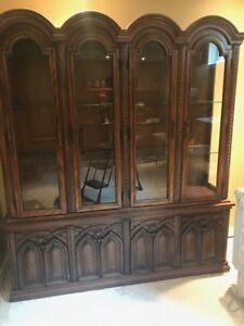 Vintage Full Size Solid Wood China Cabinet