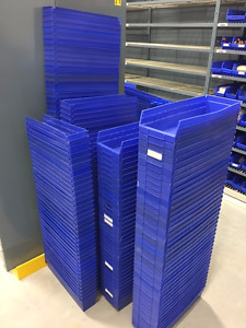 Akro-mils 30138 & 30128 blue shelf bins, 2 Sizes