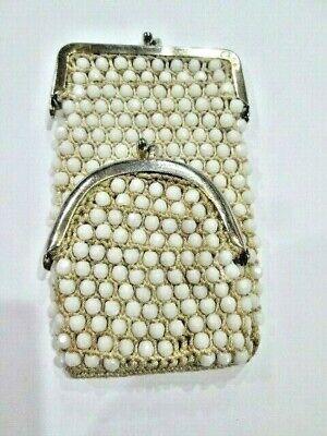 1940s Handbags and Purses History Vintage 1940s Milk Glass Beads Cigarette & Match Holder Purse Case Hand Made $7.99 AT vintagedancer.com