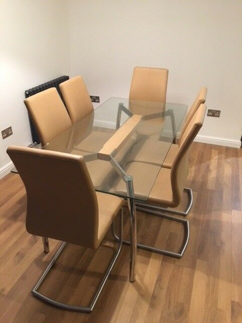 Glass Top 6 Seater Dining Table And 6 Leather Chairs In Linlithgow