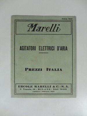 Marelli. Agitatori elettrici d'aria. Prezzi Italia, 1940