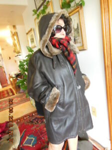 LADIES LEATHER SHEARLING WINTER COAT