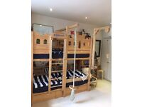 Children's Solid Pine Bunk Bed Castle (Woodland)