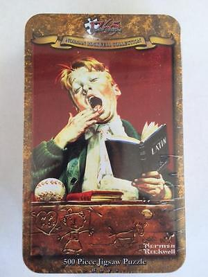 """500 PIECE JIGSAW PUZZLE NORMAN ROCKWELL COLLECTORS TIN """"The Sleepy Scholar"""" New!"""