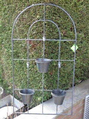 jardinière mural en fer forgé, 3 portes pots de fleurs avec robinets,  nouveau !