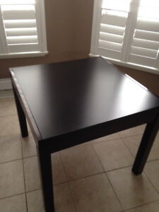 """MUST SELL.... 35"""" Sq. """"Modern"""" Dark Wood Extendable Table."""
