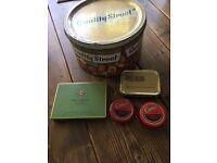 A set of vintage tins - Quality Street, Silk Cut, Comet, Gold Block