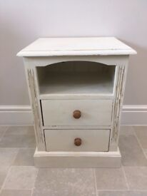 Two Drawer Bedside Table - Annie Sloan Old White Chalk paint, distressed and waxed