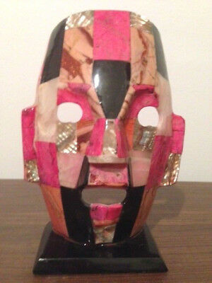 MASK,GEMSTONE, MOSAIC,MEXICO, STONE INLAY FACE, PINK,BLACK,ABALONE,ON STAND for sale  Cleveland