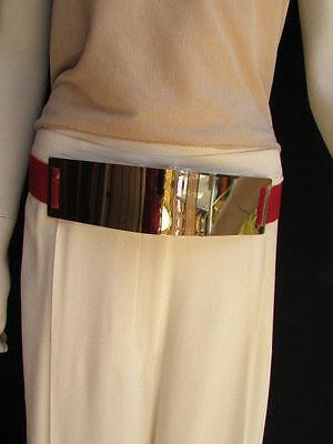 "New Women Belt Fashion High Waist Hip Gold Metal Plate Elastic Red 28""-40"" S M L"