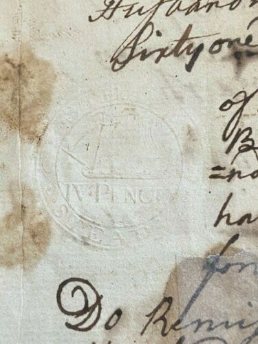 1756 Berwick ME 4 Pence Embossed Revenue stamp deed ship Nock Family Wm Jones
