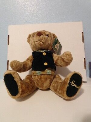 Harrods Rodney Bear Jointed Plush Bear New With Tag Green Brown 15 inches