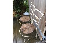 Two heavy old French interesting chairs with thick raffia woven seats . Very strong