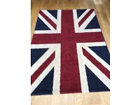 Union Jack Rug 47 inches wide by 68 inches long. Good condition