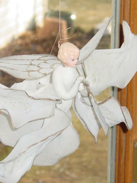 Antique ANGEL COTTON MICA  BISQUE NETTING WINGS HORN CHRISTMAS VTG RARE