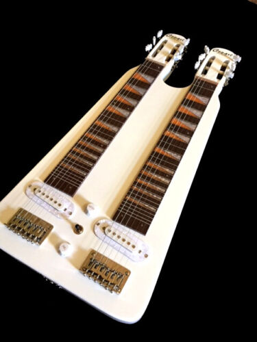 COUNTRY WESTERN NEW  6/6 DOUBLE LAP STEEL SLIDE VINTAGE WHITE ELECTRIC GUITAR