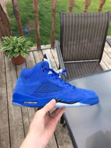 Air Jordan 5 in blue suede