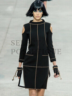 NWT CHANEL 14P CUTOUT SHOULDER BLACK DRESS FR38