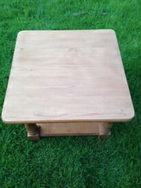 Solid Pine Square Coffee Table Good Condition, St Neots