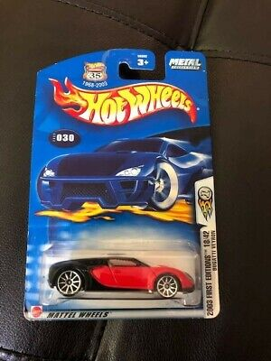 2003 Hot Wheels #30 First Editions 18/42  BUGATTI VEYRON Red/Black