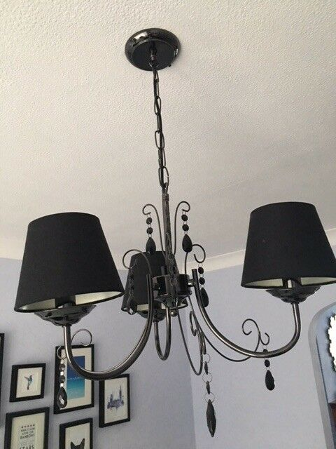Modern Gloss Black 3 Way Ceiling Light Fitting Chandelier Lights