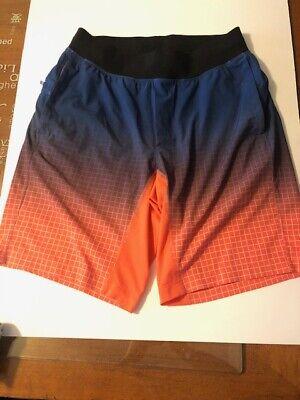 "Mens LULULEMON the Short 9"" Short Liner less  Blue/orange size Medium"