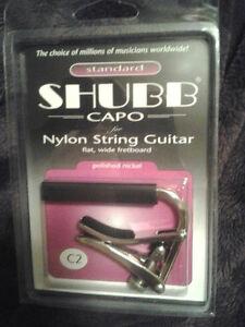 New Shubb C2 Polished Nickel Standard Capo for Nylon String Guitars + SHIPS FREE