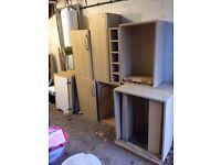 Seven assorted light pine Kitchen Units