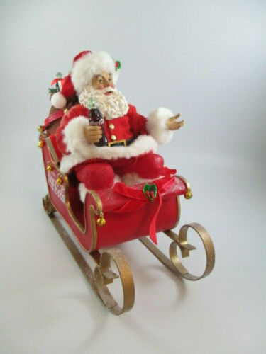 Coca-Cola Kurt Adler Fabriche Santa in Sleigh Holiday Christmas Table Display
