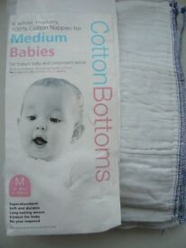 10 baby cotton bottoms Trifold Prefold cotton reusable nappies - southbourne