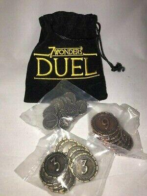 Asmodee 7 Wonders DUEL Metal 32 Coin Kit & Promo Bag New Sealed