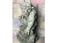 1 Awesome Gothic Old Style Stone Guardian Muscle Gargoyle On Step Plinth