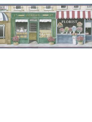 BAKERY, FLORIST AND CAFE STORE FRONTS LIGHT BLUE TRIM WALLPAPER BORDER