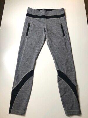 LULULEMON Women's Gray, Black Leggings Side Pockets Legging Sz 2