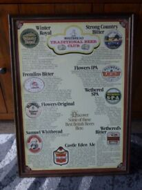 """WHITBREAD TRADITIONAL BEER CLUB FRAMED POSTER 24.5"""" X 17.75"""" RARE"""